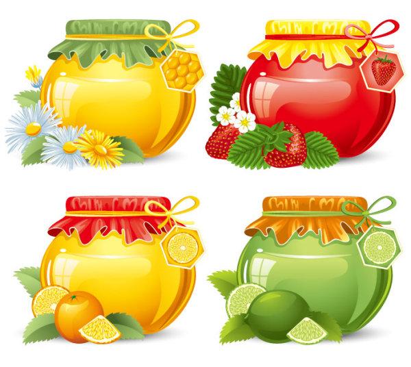 Fine-Canned-Fruit-Free-Vector おしゃれなフルーツの缶詰(瓶詰)。無料ベクターイラスト素材