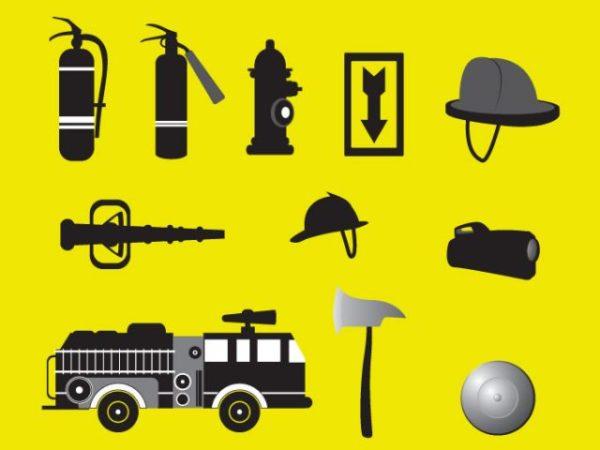 Fire-Fighting-Equipments-Set-600x450 消防・火事に関連した無料ベクタークリップアート素材
