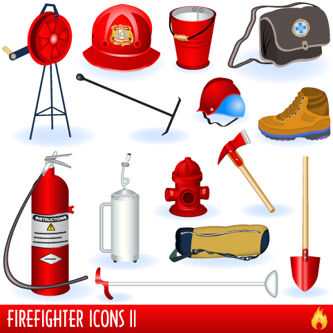 Firefighter-1 火の用心!消防グッズ無料ベクタークリップアート素材01