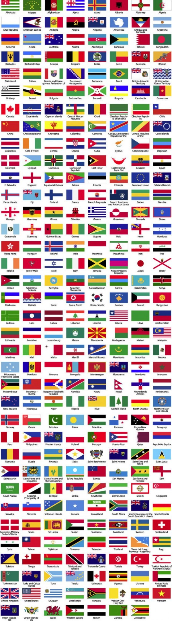 Flags-of-the-World-Sorted-Alphabetically-Preview-600x2167 世界287ヵ国の国旗!無料ベクターイラスト素材