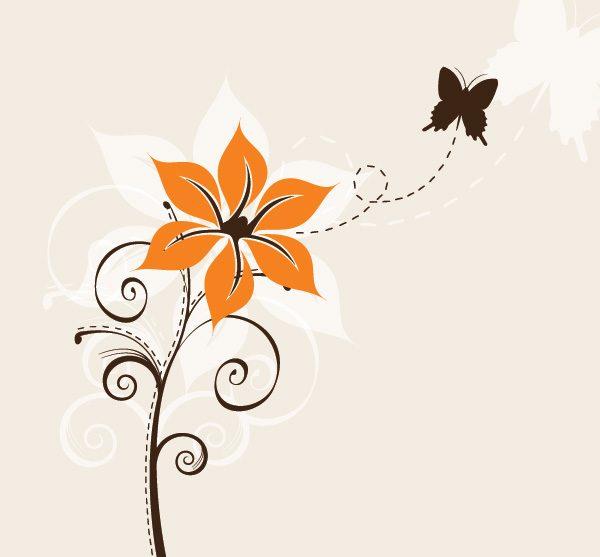 Flower-and-Butterfly-Vector-Graphic-600x557 お花から飛び立った蝶を描いたベクターシルエットイラスト素材
