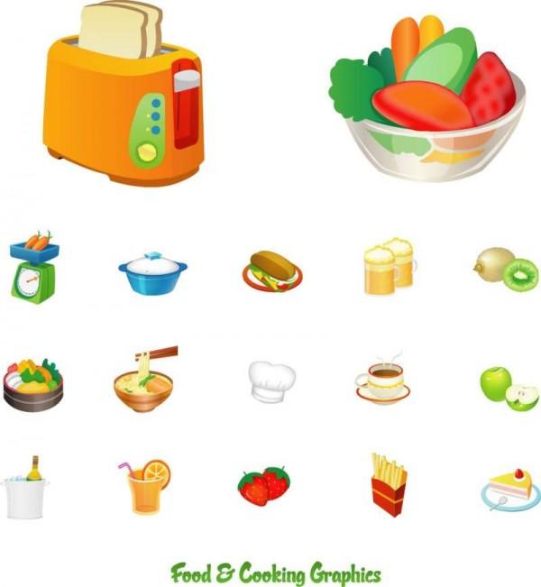 Food-Cooking-Graphics-600x651 食に関連のある美味しそうな無料ベクタークリップアート