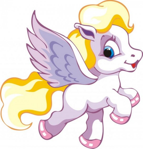 Free-Horse-Vector-Graphics-11-Pegasus-Horse-Graphic-600x622 ペガサス・子馬のかわいい無料ベクターイラスト素材