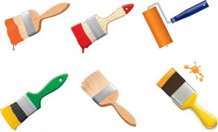 Free-Paint-Brushes-Vector-Graphic-Vector-misc ペンキ塗装の必需品(ハケ・ローラー)無料ベクタークリップアート素材