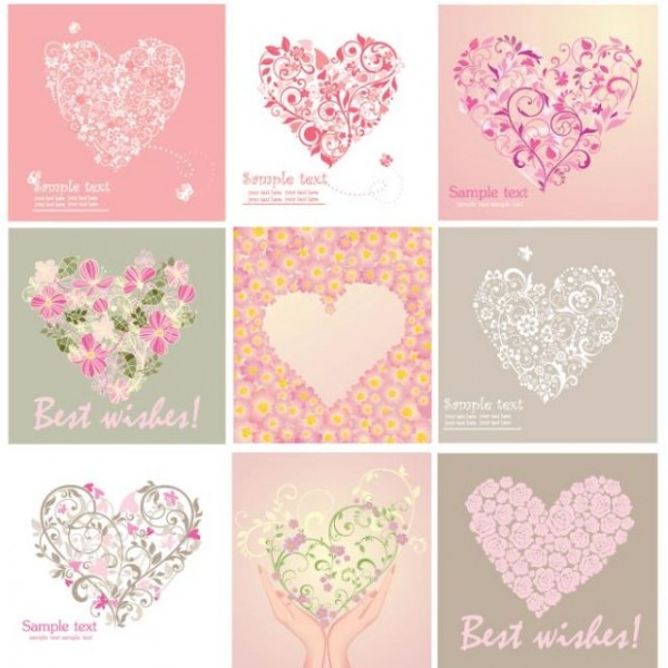 Free Vector Beautiful floral art heart shape greeting card set