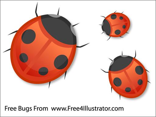Free-Vector-Bugs- シンプルなテントウムシの無料ベクターイラスト素材