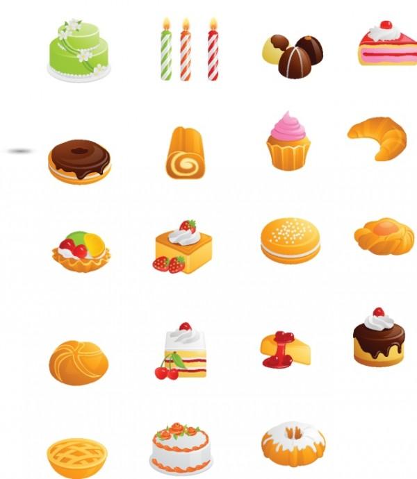 Free-Vector-Cakes-and-Cookies-600x690 おいしそうなケーキ&クッキーのベクタークリップアート素材