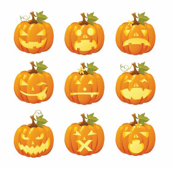 Free-Vector-Halloween-Pumpkin-Smileys ハロウィンのカボチャ。無料ベクタークリップアート素材