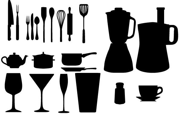 Free-Vector-Kitchen-Appliances-Silhouettes キッチンツールのベクターシルエット素材