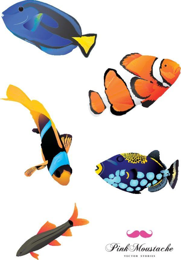 Free-vector-fishes-600x862 5種類の熱帯魚(海水魚)の無料ベクタークリップアート素材