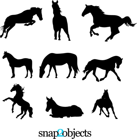 Free-vector-library-9-Horses-Vector-Silhouettes 年賀状にも!無料ベクター馬(午)のシルエット・イラスト素材