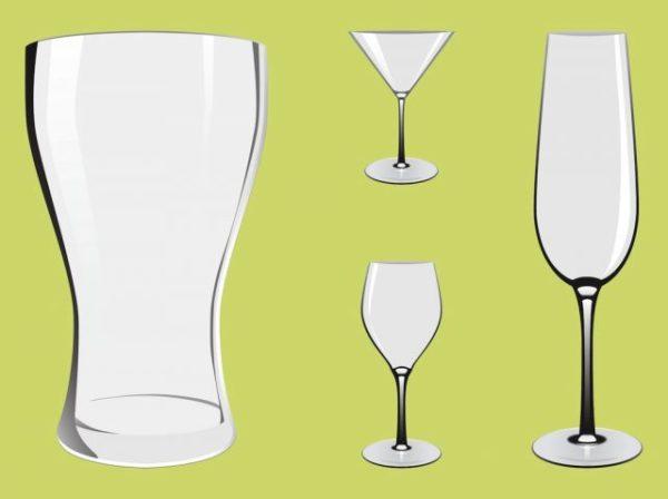 FreeVector-Alcohol-Glasses-600x448 ビアーグラス、シャンパングラス、ワイングラス、カクテルグラスの無料ベクターイラスト素材
