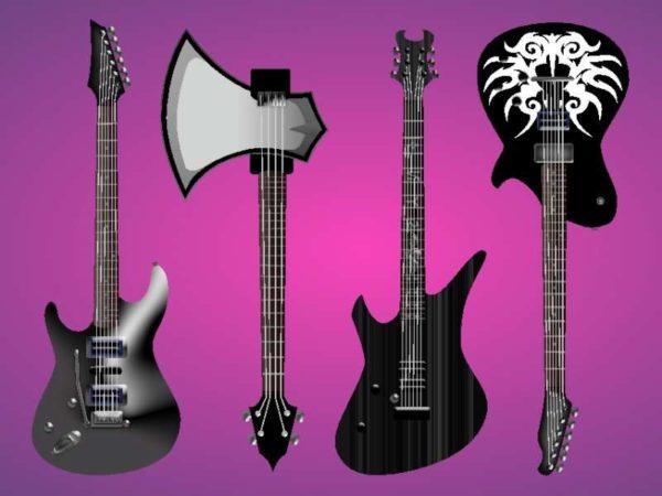 FreeVector-Electric-Guitars-Vector-Freebies-600x450 メタル系でヘヴィなエレキギター4種類のベクタークリップアート素材