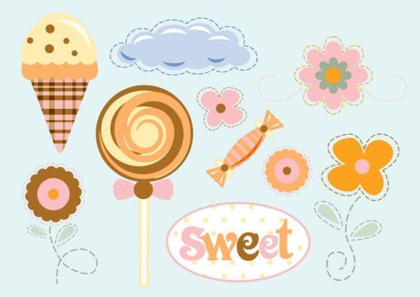FreeVector-Flowers-Sweets-Vecto-600x425 お花とスイーツ(キャンデー・アイスクリーム)のクリップアート