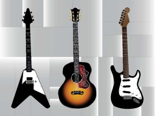 FreeVector-Free-Guitar-Vector-Graphics-600x450 オーソドックスなストラトやアコースティック、異色なフライングVのイラスト素材