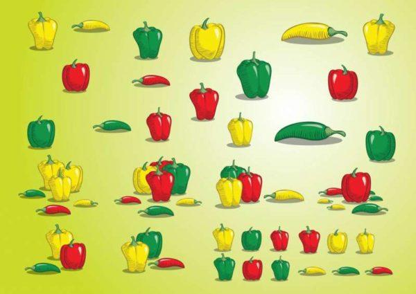 FreeVector-Peppers-600x425 黄・緑・赤がきれいなパプリカと唐辛子のベクターイラスト素材
