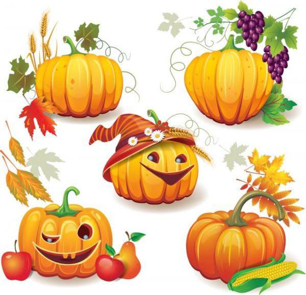 Funny-Autumn-pumpkins-vector-graphic-02-600x580 ユニークなハロウィンのカボチャ素材。無料ベクタークリップアート