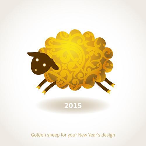 Golden-sheep-2015-new-year-background-vector モコモコ感がたまらなくかわいい干支(未)の無料ベクター背景イラスト