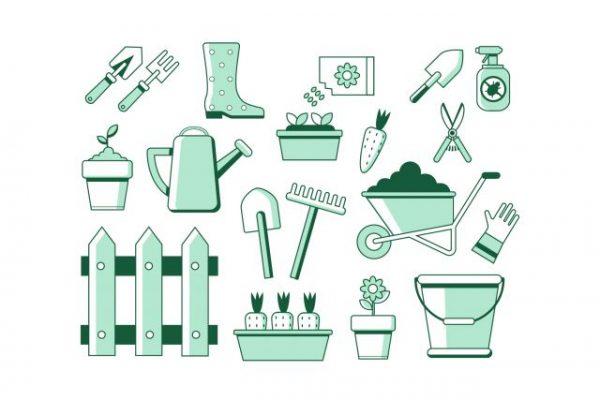 Green-gardening-icons-600x400 ガーデニングアイコンセット。ベクター無料素材