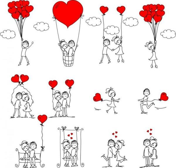 Hand-drawn-Romantic-Love-people-vector-600x571 ラブラブな二人♥手書きの無料イラスト素材12パターン