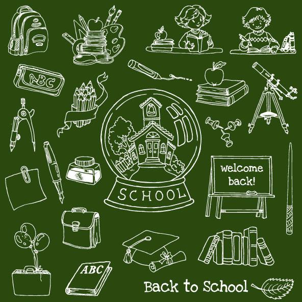 Hand-drawn-school-elements-vector-set-01 黒板素材と合わせて使いたい学校に関連した無料ベクター手書きクリップアート素材