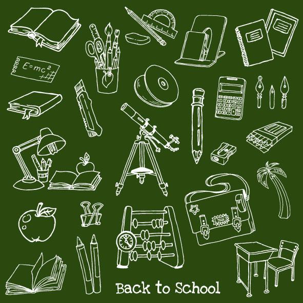 Hand-drawn-school-elements-vector-set-02 黒板素材と合わせて使いたい学校に関連した無料ベクター手書きクリップアート素材02