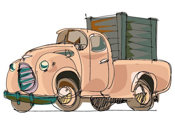 Hand-painted-cartoon-car-02 手書きで可愛いクラシックなトラック。無料ベクターイラスト素材