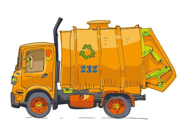 Hand-painted-cartoon-car-03 手書きで可愛いゴミ収集車。無料ベクターイラスト素材