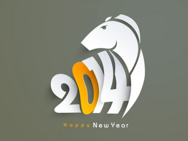 Happy-New-Year-2014-Horse-Vector-600x450 シンプルスタイリッシュな2014年版の無料年賀状素材(午)