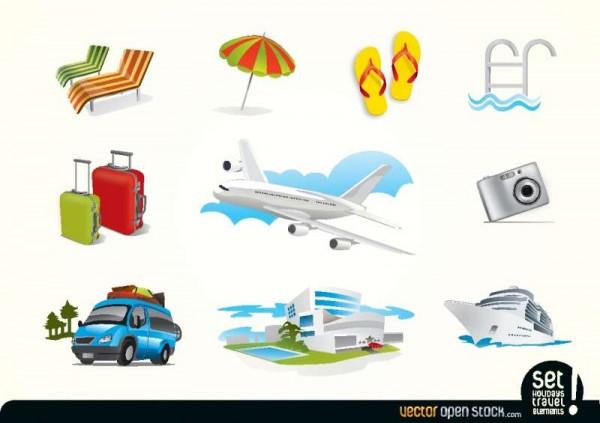 HolidaysTravelElements-600x423 夏の海外旅行に関連性のある、無料ベクタークリップアート素材