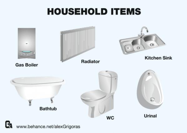 Household-Items-600x428 家の水回りアイテムを高品位に描いた無料のベクターイラスト素材