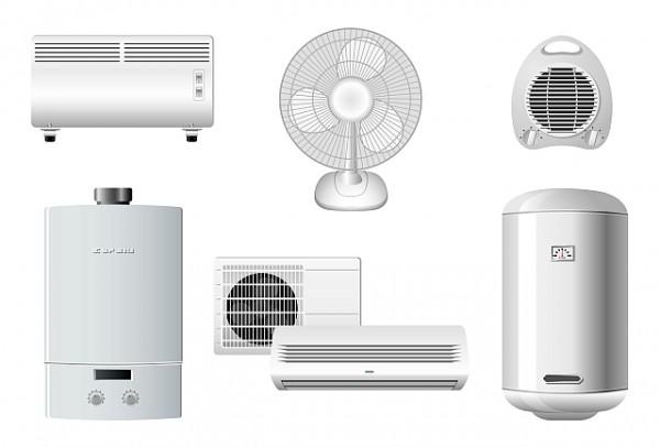 Household-appliances-vector-2-600x406 家電(エアコン、扇風機、ファンヒーター、湯沸かし器)のクリップアート素材