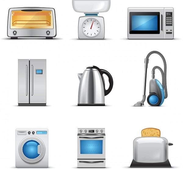 Household-appliances-vector-4-600x556 ハイクオリティー家電(レンジ、トースター、冷蔵庫、ポット、掃除機、全自動洗濯機、オーブン)のクリップアート素材