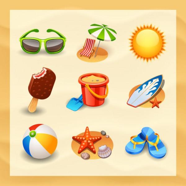 Icons-vector-1-Vectors-Free-600x600 夏のビーチに関係のあるグッズ。ベクタークリップアート素材