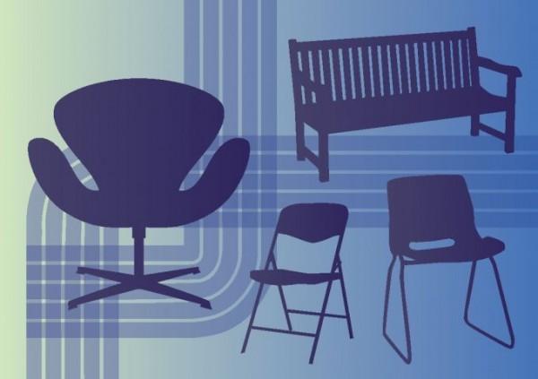 Interior-Design-Vectors-600x423 ガーデンベンチやレトロチェアーなどクールな家具の無料ベクターシルエット素材