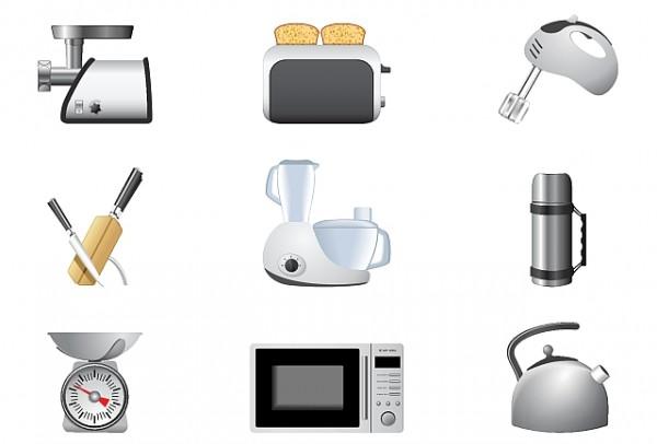 Kitchen-Appliances-3-600x406 ハイクオリティー!キッチンにまつわるアイテム・ベクターイラスト素材