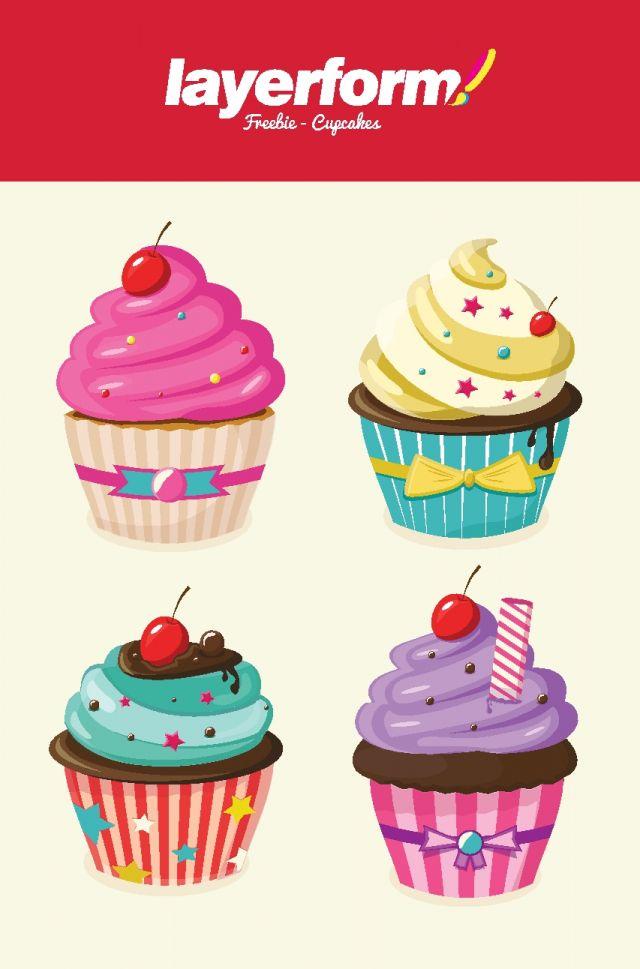 カラフルでかわいい4種類のカップケーキ無料ベクターイラスト素材