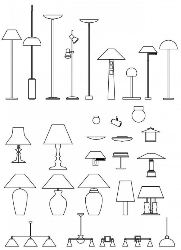 Lamps-outline-600x830 フロア・スタンド・スポット・シーリングなどランプの無料ベクターシルエット素材