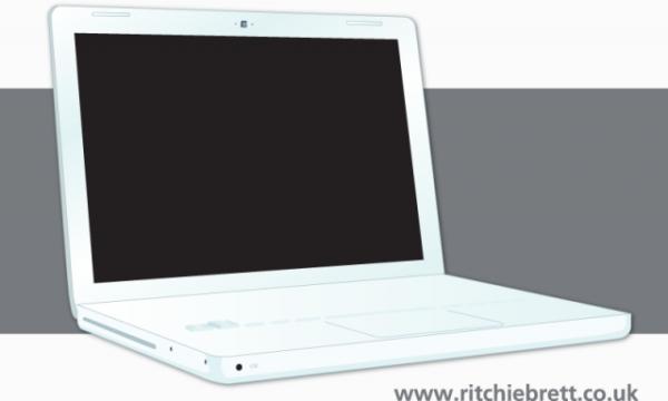 Laptop-Vector-600x360 iBookタイプのノートパソコン。無料ベクタークリップアート素材