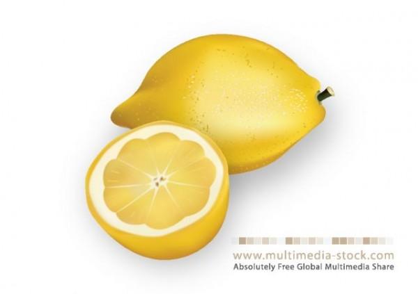 Lemon-Vector-600x423 フレッシュレモンの無料ベクタークリップアート素材