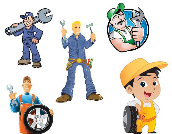 Maintenance-man-vector-material 機械の修理ならおまかせ!5種類のメカニックベクター素材