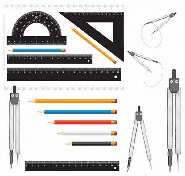 Measurement-stationery-vector-600x570 製図に欠かせないアイテム(定規・分度器・コンパス・鉛筆)のベクタークリップアート素材
