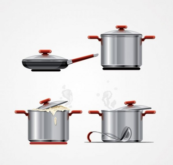 Metal-Cooking-Pot-Pan-Vector-Graphics--600x573 フライパンと吹きこぼれそうナベの無料ベクターイラスト素材