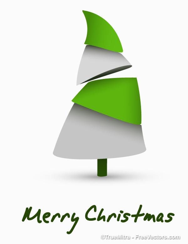 Modern-Christmas-Tree モダンでキュートなクリスマスツリー。無料ベクターイラスト素材