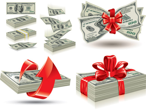 Money-pack-ec 帯や赤いリボンで結ばれた札束いろいろ。無料ベクタークリップアート素材