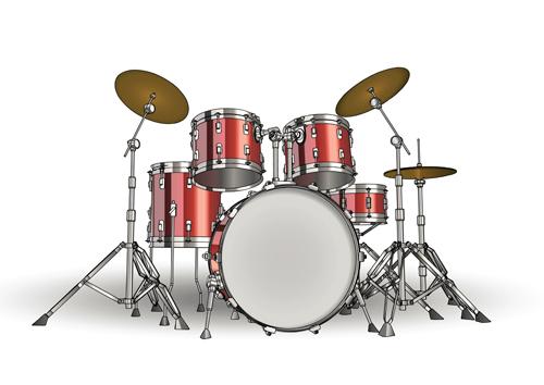 Music-with-Drums-design-elements-vector-01 高品位なドラムの無料ベクターイラスト素材