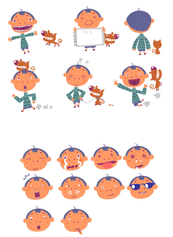 Naughty-Boy-And-Dog-Vector-Graphic-600x821 子供とワンちゃんの日常を描いた無料ベクタークリップアート素材