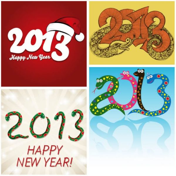 New-Year-2013-snake-backgrounds-vector1-600x600 4種類のヘビ(干支・巳)の無料ベクターイラスト素材