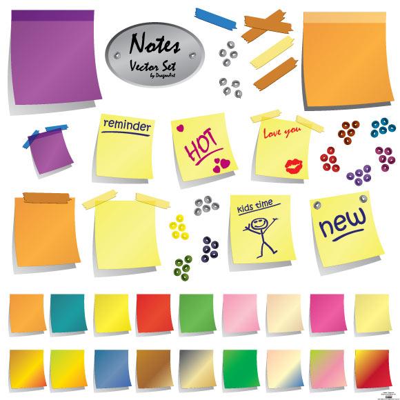 Notes-Vector-Set 無料ベクターイラスト素材。カラフルな付箋・メモ用紙・テープ・押しピンのセット
