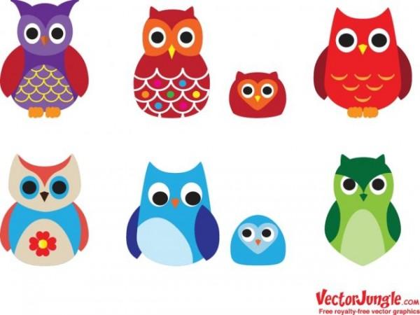 Owls-600x450 8種類のフクロウ。無料ベクタークリップアート素材